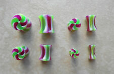 One Pair UV Acrylic Candy Stripe Ear Plugs Tapers Gauges 0g-8g