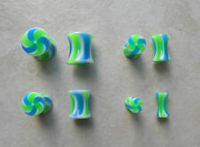 PAIR UV Acrylic Green Blue Candy Stripe Ear Plugs Gauges Tapers 0g - 8g