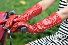 "40cm(15.7"") long real patent leather evening gloves*red"