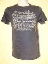 Budweiser Beer Adult T Shirt Slate Gray New NWT