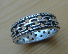 Braid Edge CHAIN LINK .925 Sterling Silver Ring Band SIZE 7 8 9 10 11 12
