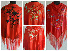 "Red spanish flamenco shawl with multi coloured embroidery 66"" x 39"""