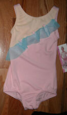 NWT Body Wrappers 3 color ruffled leotard girls xs-6x7 Pink blue yellow