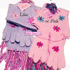 Girls Matching Hat, Scarf & Gloves Set 3-6 Years in Baby Pink or Lilac