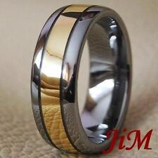 Tungsten Wedding Band 18K Gold Ring Mens & Womens Bridal Jewelry Hot Size 6-15