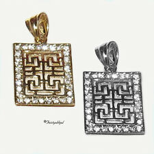 14K GOLD GP WHITE OR YELLOW GOLD, GP, GREEK KEY PENDANT WITH CZ BORDER
