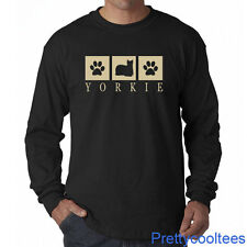 YORKIE Silhouette Long Sleeve T-Shirt Tee - Yorkshire Terrier dog - S to 5XL