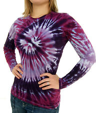 Tie Dye Ladies T-Shirt Long Sleeve Tri Purple Spiral