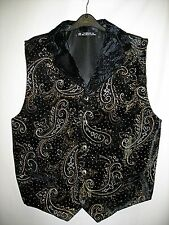 Velvet Collared Waistcoat Goth Steampunk Victorian Paisley Glitter Chap NEW
