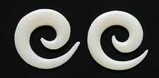 Pair Organic GENIUNE WATER BUFFALO BONE SPIRALS TAPERS Ear Plugs Gauges 6g 4g 2g