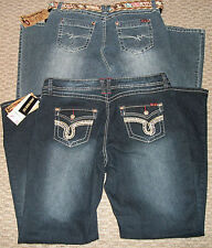 NWT ANGELS HISSYFIT CRYSTAL BELTED DENIM JEANS WOMEN'S PLUS SZ 16 18 20 22 24 26