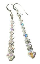 CLEAR AB Crystal Earrings Long Dangle Sterling Silver Swarovski Elements