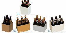 Cardboard Beer Bottle Carriers 6 and 4 Pack White/Kraft and 6 Pack White 16oz