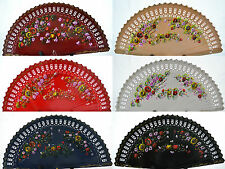 Spanish flamenco Brisé style wooden fretwork hand painted fan  Direct from Spain