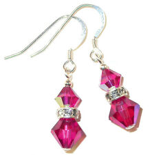 FUCHSIA PINK Crystal Earrings Dangle Sterling Silver Swarovski Elements