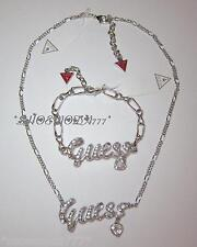 GUESS Exclusive Large Pave Ribbon Logo Necklace Bracelet Rhinestones Heart Gift