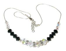 SWAROVSKI Elements CRYSTAL NECKLACE Sterling Silver Jet BLACK & CLEAR AB