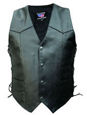 Black Buffalo Leather Motorcycle Biker Vest with Side Lace Mens