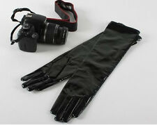 "40cm(15.7"") long 100% real  patent leather evening/elbow gloves*black"