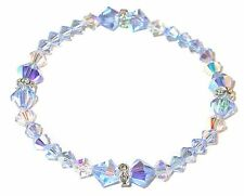 Stretch-on LIGHT SAPPHIRE BLUE Crystal Bracelet Swarovski Elements