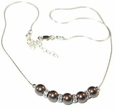 BROWN Pearl Necklace Bridal Sterling Silver Swarovski Elements