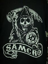 SONS OF ANARCHY SAMCRO 9 BANNER EST 1967 2 SIDED PRINT T-SHIRT NEW !