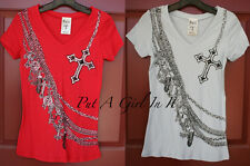 VOCAL RED or GRAY CROSS CHAIN NECKLACE BIKER CHICK WESTERN V NECK SHIRT S M L XL
