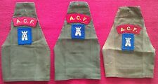 TRIO OF ARMY CADET FORCE ACF A.C.F. BRASSARDS  OLIVE GREEN WITH BADGES USED