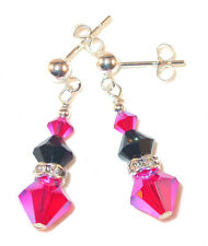 HOT PINK & JET BLACK Crystal Earrings Sterling Silver Dangle Swarovski Elements