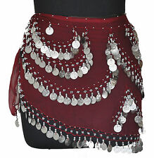 Belly Dancing Hip Scarf Wrap Costume Gypse Skirt Bra Maroon /Silver Coins CH