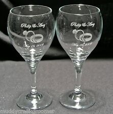 Wedding Etched Glasses Customized YOUR CHOICE in Images and Glass Style