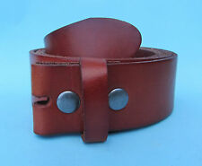 Snap on Real Hide Leather Belt Tan Brown