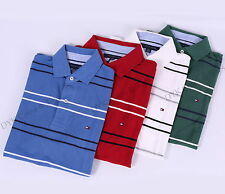 NWT TOMMY HILFIGER MEN'S CLASSIC KNIT MESH STRIPE POLO SHIRT - FREE SHIPPING