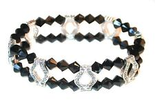 JET BLACK Crystal Bracelet 2-Strand Silver Stretch Swarovski Elements