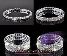 Wholesale Lot 1/2/3/4/5 Rows Wedding Bridal Swarovski Stretchy Elastic Bracelets