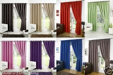 BLACKOUT THERMAL CURTAINS Eyelet Ring Top or Pencil Pleat FREE Tie backs