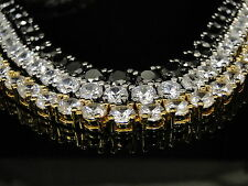 "BRAND NEW MENS FULLY ICED 1 ROW SIMULATED DIAMOND 4 PRONG CHAIN NECKLACE 36"" 8MM"