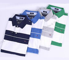 NWT TOMMY HILFIGER MEN'S CUSTOM FIT JERSEY GOLF STRIPE POLO SHIRT -FREE SHIPPING