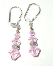 SWAROVSKI CRYSTAL ELEMENTS Sterling Silver Earrings ROSALINE Pale Light Pink