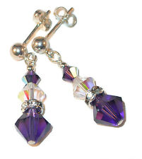 CLEAR AB & PURPLE VELVET Crystal Earrings Sterling Silver Swarovski Elements