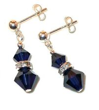 INDIGO Dark Navy Blue Crystal EARRINGS Sterling Silver Dangle Swarovski Elements
