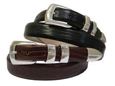 "Marin Silver Mens Leather Designer Golf and Dress Belt 1-1/8"" Wide, Black Brown"
