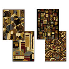 "Modern Abstract Geometric Shapes 6x8 Black Area Rug - Actual 5' 2"" x 7' 2"" :"