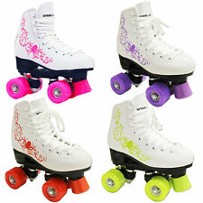 NEW KINGDOM VECTOR QUAD DISCO ROLLER GIRLS JUNIOR SENIOR SKATES PINK ORANGE