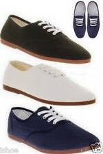 FLOSSY MENS LADIES PLIMSOLL LACE UP FLAT CANVAS TRAINERS PUMPS SHOES SIZES 2-12