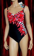 NEW Naturana Black and Red Floral Swimsuit Sizes 32 to 40 FREE P&P