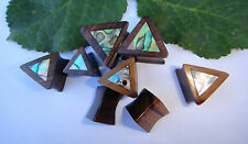 1 Pair Handmade ABALONE Shell Sono Wood Triangle Double Flared Ear Plugs Gauges