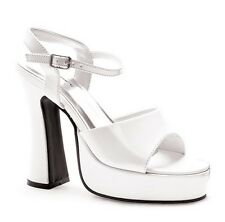 "5"" White Chunky Platform 70s Disco Sandals Heels Ellie Shoes size 6 7 8 9 10"