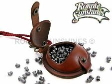 """Wilkins Hard Leather Air Rifle Gun Pellet Pouch Size Small 2.5"""" Brown or Black"""
