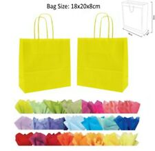 10 Yellow Paper Gift Bags With Tissue Paper - Recyclable Twist Handle Party Bag